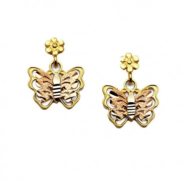 14K tricolor Butterfly earrings EJER1362