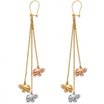 14K elephants dangle earrings EJER1409