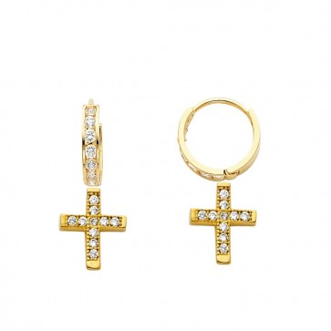 14K yellow Cross dangle earrings EJER25204