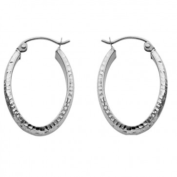 14K white gold oval earrings EJER578W