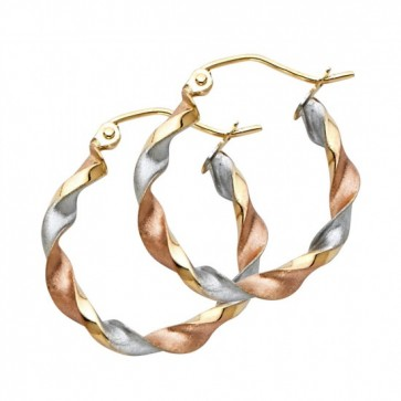 14K tricolor Curled hoop earrings EJER747