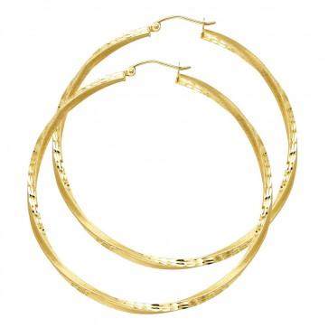 14K yellow gold twisted hoop earrings EJER94