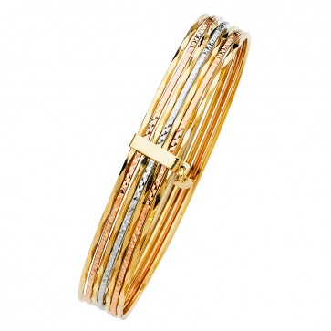 14K Tricolor Gold D/C Bangle EJB14512