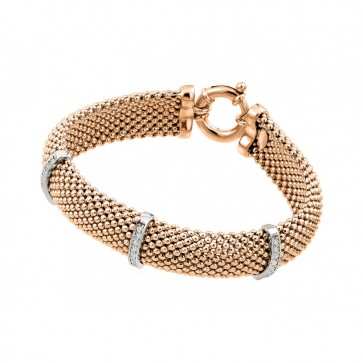 EJJPB00002 - Italian Silver bracelet Rose Gold Plated Rhodium Finish