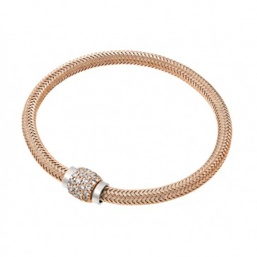 EJJPB00007 -  Italian Sterling Silver bracelet Rose Gold Plated Rhodium with CZ clasp