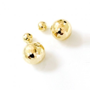 14K Faceted 14mm Ball Stud Earrings EJER7188DC