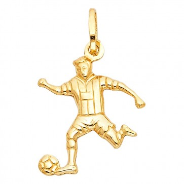 14K yellow gold Soccer player charm EJPT501