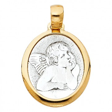 14K two tone angel medal EJPT732