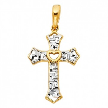 14K Heart Greek Key Cross Pendant EJPT761