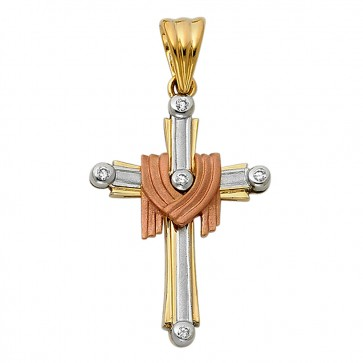 14K Tricolor Resurrection Cross EJCR33603