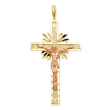 14K yellow & rose gold crucifix EJPT977