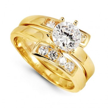 EJLRR2109 - Elegant 14K Yellow Gold CZ Wedding Ring Set