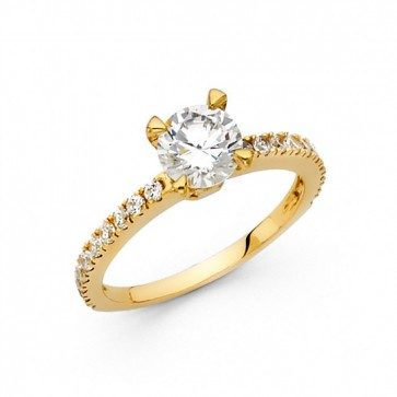 14K yellow CZ engagement ring EJLRCZ12