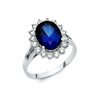 14K White Gold Blue Stone Ring EJRG1321