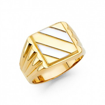 14K Two Tone Square Signet Ring EJRG1466