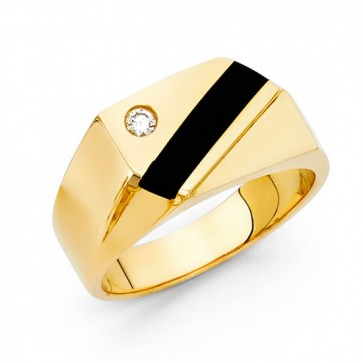 14K Yellow Gold Black Onyx Ring EJRG1489