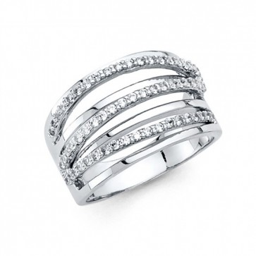 14K white gold fancy CZ ring EJRG277