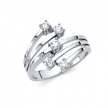 14K white fancy CZ ring EJRG279