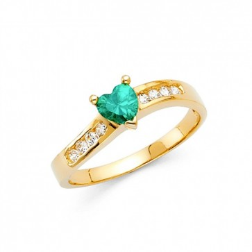 14K Green CZ Heart ring EJRG329