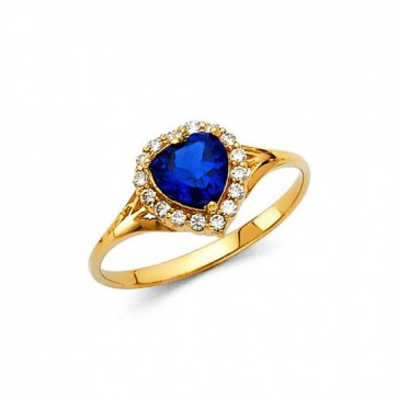 14K Blue Heart stone ring EJRG349