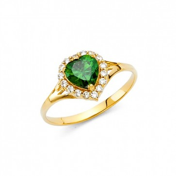 14K Green Heart stone ring EJRG377