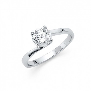 14K white CZ engagement ring EJLRCZ04
