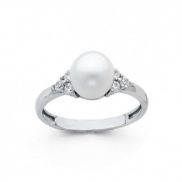 14K white gold Pearl ring EJRG694