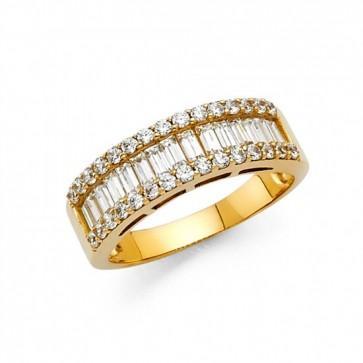 14K baguette CZ wedding band EJRG748