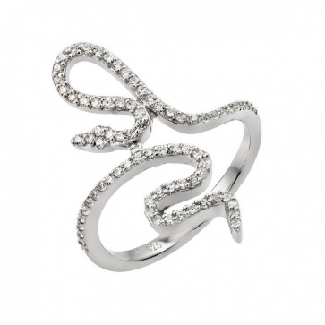 EJSTR00966 - Solid Sterling Silver Snake ring with CZ accents