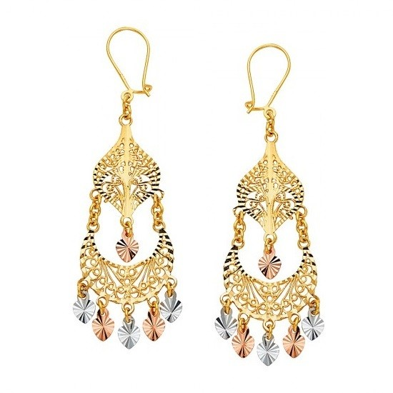 14K tricolor gold chandelier earrings EJER22816