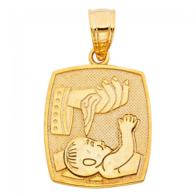 gold jewellery ladies baptism solid buy yellow medallion item