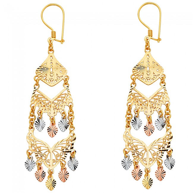 tricolor filigree chandelier earrings EJER22814