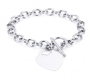 14K white Rolo bracelet with Heart pendant EJB10603