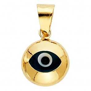 14K yellow gold Blue Eye charm pendant EJCM11918