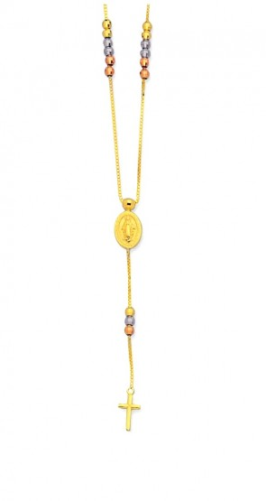 14K tricolor gold Miraculous Virgin necklace EJN12506