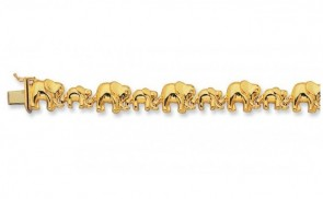 14K Mother & Baby elephant bracelet EJB13605
