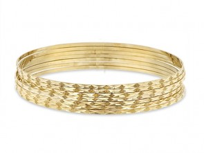 14K Yellow Gold D/C Bangles EJB14405