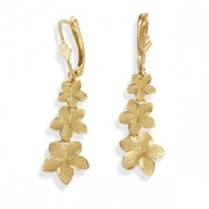 14K Hawaiian flower dangle earrings EJER19113