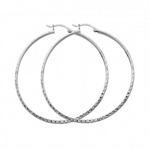 14K white D/C hoop earrings EJER22416