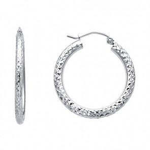 14K white Crystal-cut Hoop Earrings EJER22418