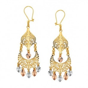 EJER22816 - 14K tri-color gold filigree chandelier earrings