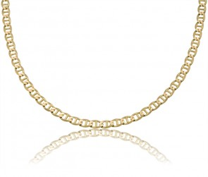 14K Yellow Gold 5mm Concave Mariner Chain 22 inches