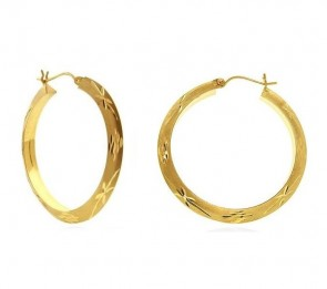 14K yellow gold design hoop earrings EJER23421