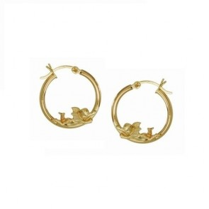 14K yellow gold Angels hoop earrings EJER23524