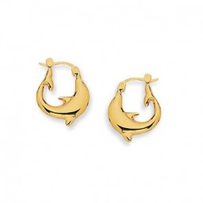 14K yellow gold dolphin earrings EJER23710