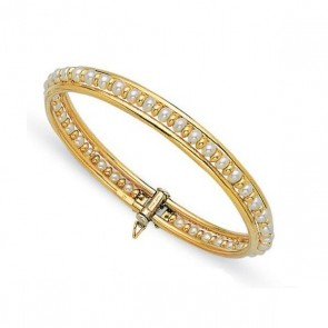 14K yellow gold Pearl bangle EJB24813