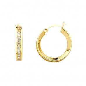 14K yellow CZ hoop earrings EJER25220
