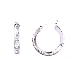 14K white CZ hoop earrings EJER25220W