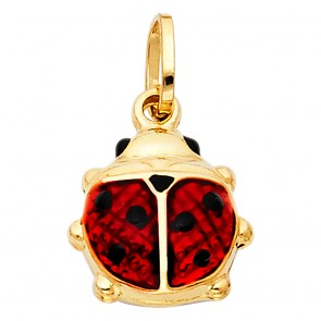 14K yellow gold enamel Lady bug charm EJCM26235