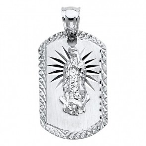 14K White Guadalupe oval medal EJM26340